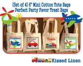 """Transportation Plane Car Helicopter Train Birthday Party Treat Favor Gift Bags Mini 6"""" Natural Cotton Totes Children Kids"""