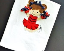Girls Game Day Cheerleader Shirt You Choose Colors Girls Ole Miss Shirt Free Personalization