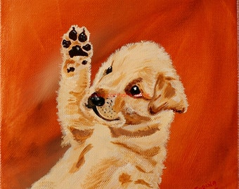 Cute Labrador Golden Retriever Puppy Dog - Original Irish Acrylic Painting by Artist CORINA HOGAN - OOAK