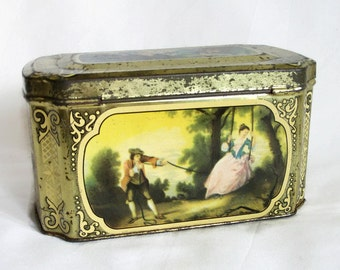 Country romance & serenade. Vintage tin box, Courting couple, Shabby, cottage chic, Tinplate, litho, old lithograph. Candy tin, Home decor