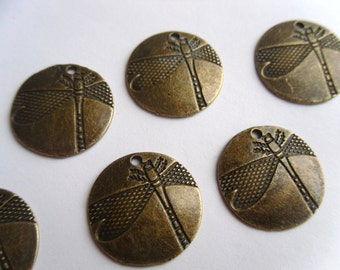 5 or 10 Antiqued Bronze Dragonfly Pendants 19mm     -A4B3-1