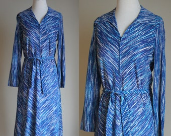 SALE Vintage 70s Royal Blue Dress - Zip Front Long Sleeve Chevron Striped Dress with Pockets - Knee Length A Line Belted Dress - Size Medium