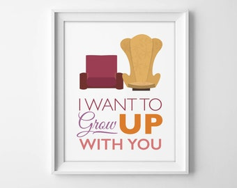 """8x10"""" Disney UP Wedding Wall Art - """"I want to grow UP with you"""" Greatest Adventure Nursery or Wedding with Carl and Ellie's Iconic Chairs"""
