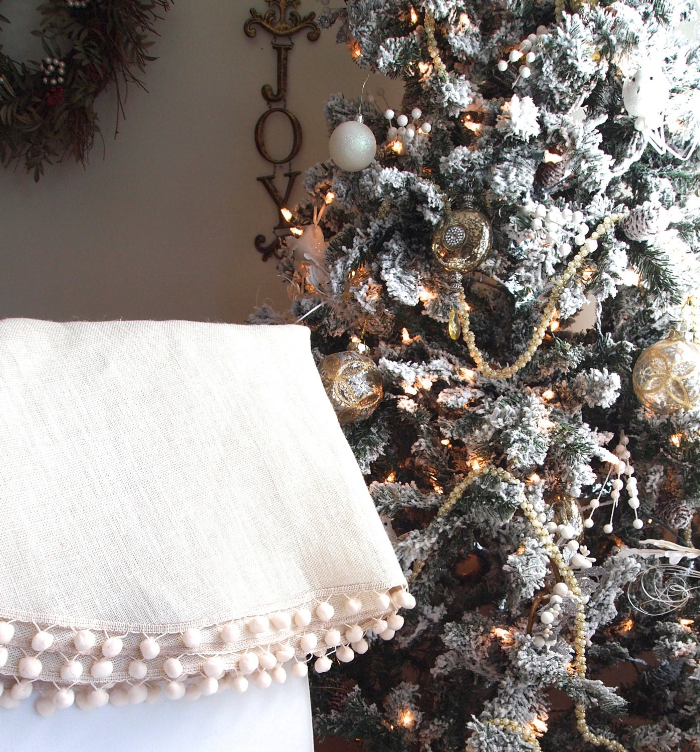 White burlap christmas tree skirt with by theburlapcottage
