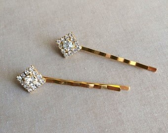 Gold Bridal Crystal Hairpins 2 pc Square Diamond, gold hair pin, art deco hair pin, art deco,hair accessory GOLD SQUARE SMALL