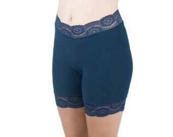 Soft Biker Shorts Navy Blue Lace Trim