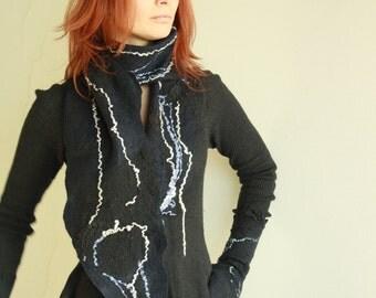 Black felted scarf - Warm dark scarf - Soft winter scarf