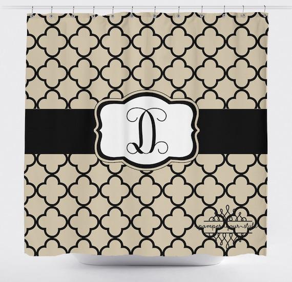 lattice quatrefoil shower curtain tan and black custom