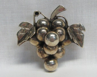 Signed Taxco Huge Sterling Silver Bunch of Grapes Brooch