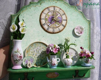 """Wall clock with miniature composition """"Flowers"""". Handcrafted miniature. TO  ORDER"""
