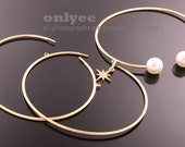 2PCS-Free Size High Quality Nickel Free And Lead Free Gold Plated Brass O Ring Bangles of Deco Bracelet (E342G)