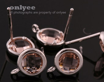 2pcs/1 pair-9mmX7mmRhodium plated faceted Round glass post earrings-Peach(M355S-C)