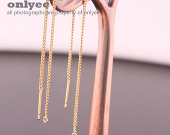 2pair/4pcs-85mm Gold Plated over Brass thin chain Earring for jewelry making,Earring Findings(K779G)
