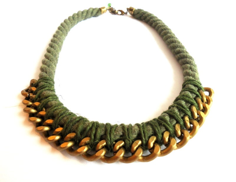 olive green necklace rope necklace knotted by creationsbyalina