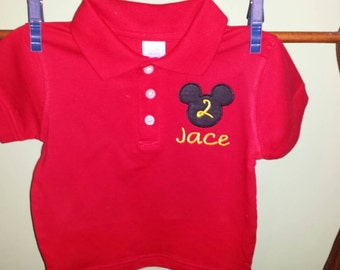 Boys Birthday Shirt inspired by Mickey mouse ears size 2  and up