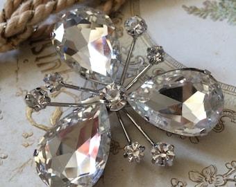 Clear clover Swarovski rhinestone crystals wedding bridal brooch pin