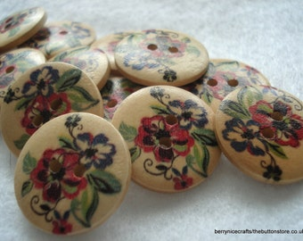 23mm Wood Buttons Red Purple Flower Print Pack of 10 Floral Buttons W2304