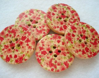 30mm Wood Buttons Tiny Pink Red Flowers Pattern Pack of 5 Floral Buttons Buttons W3077