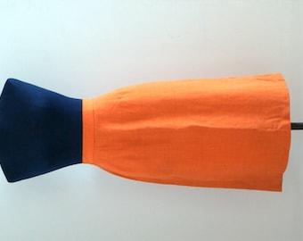 60s Original Vintage Orange Linen Skirt // Mod Retro Linen Skirt // Size S