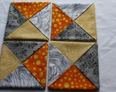 Folded Fabric Coasters ; Mug Rugs ; Candle Mats ; Home Décor ; Quilted Coasters ; Gray Orange Yellow Coasters