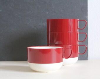 Vintage Tea Cups Melmac Plastic Minimalist Retro Cups Burgundy Cream Housewares Picnic Cups Set of Four