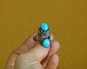 Beautiful Vtg 50's 60's Navajo Native American Signed LW  Sterling silver and Sleeping BeautyTurquoise Ring SZ 9