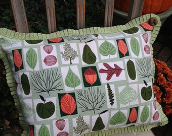 Sage Leaves and Acorns Midcentury Pillow
