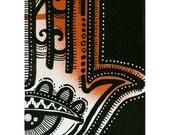 "Orange Hamsa Sticker - 3.5""x2.5"" - original art print graffiti sticker"