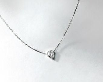 14k gold .25 carat diamond shield necklace