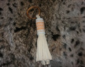Keychain Coral and Pale Blue Horizontal Stripes
