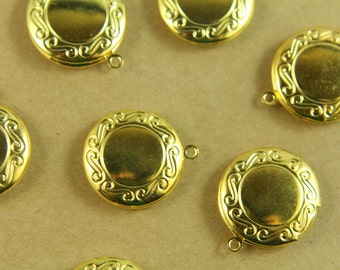 4 pc. Small Gold Plated Round Lockets 20mm x 24mm | LOC-031