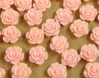 20 pc. Baby Pink Glossy Crisp Petal Rose Cabochon 14mm | RES-437