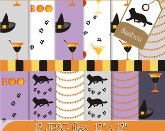 Halloween Digital Paper Black Cat Hat Pumpkin Glass Banners Boo 12 Digital Images for cards, scrapbooking  - instant download - CU OK