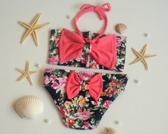 Baby girl swimwear-Floral bow bandeau bikini and bow bottoms -Baby swimsuit -Children swimwear -Kids swimsuit -Children bathing suit