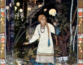 Glowing Skuls - Art by Ivan Bilibin..  -  Vintage Art, Story Book Art, Family Art, Children's Art