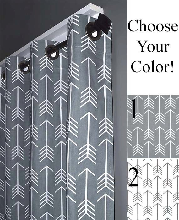 Blackout Lined Arrow Grommet Curtains Free By Designerpillowshop