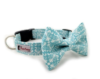 Preppy Dog Collar  in Teal (Dog Collar Only - Matching Bow Tie Available Separately)