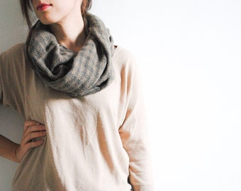 SALE Brown Winter Cowl - Infinity Scarf - Women Chunky Cowl - Plaid Scarf - Loop scarf - Maternity Cover -
