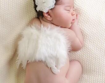 White Chiffon and Lace Flower Headband, Flower Headband, Baby headband, Pearl Headband, New Born, Baby Girl, Photo Prop