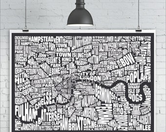 London Map Print - Custom London Typography Map with Landmarks and Neighbourhoods, Various Colors, Word Map Art Print Poster