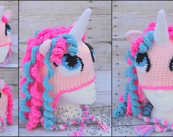Crochet unicorn, pony hat. Made to order.