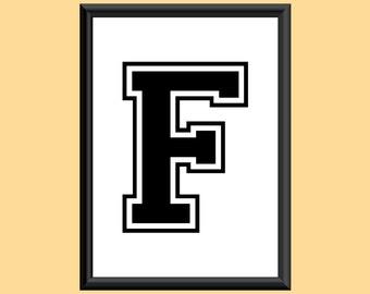 Typography DIGITAL PRINT Monogram Initial Wall Art Varsity Letter F 5x7