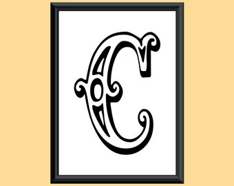 Typography DIGITAL PRINT Monogram Initial Wall Art Tropicana Letter C 5x7