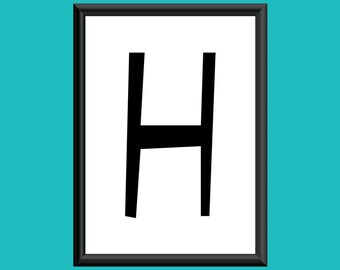 Typography Giclee Print Monogram Initial Wall Art Sybil Letter H