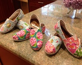 Lilly Pulitzer Inspired Handpainted Toms- Multi Pattern (you gotta regatta, sailors valentine, Chiquita Bonita ) Sizes 5-8.5