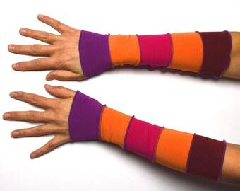 Mittens Arm Warmers 5 colours Wrist Warmers orange pink violet patchwork cotton