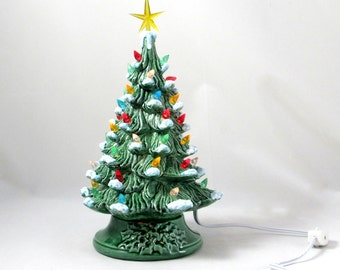 Small Vintage Style Glazed Ceramic Christmas Tree with kiln fired snow-10 inches with base, hand made, painted, pine tree