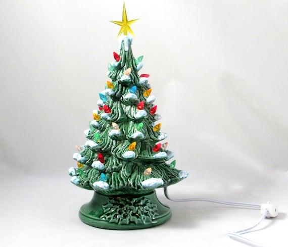 Painting Church In Snow Religious Christmas Ceramic: Small Vintage Style Glazed Ceramic Christmas Tree With Kiln