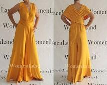 WomenLand ~ Infinity Jumpsuit Convertible Top Custom Handmade Floor Length Wide A Line Pant Dress Multi Wrap Bridesmaids Versatile Jumpsuits
