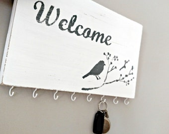 Welcome Wood Sign with Key Hooks - White and Gray Distressed Welcome Sign - White Key Hooks - Entry Key Hooks - Key Holder - Key Sign
